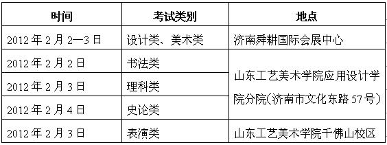 2012山东工艺美院艺术专业山东省校考时间及地点